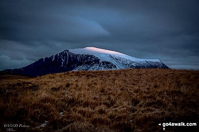 Snow on Mynydd Mawr from the Rhyd Ddu path up Snowdon (Yr Wyddfa)