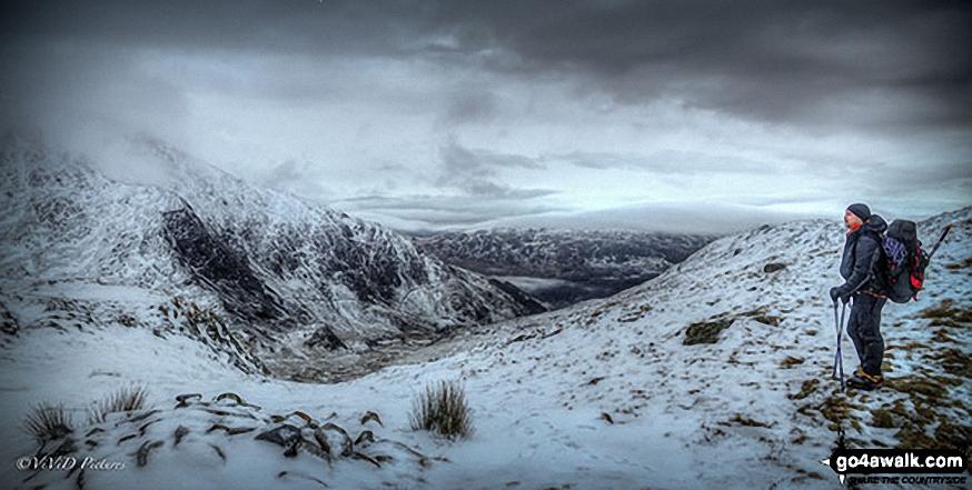 Snow on Bwlch Cwm Llan between Snowdon (Yr Wyddfa) and Yr Aran