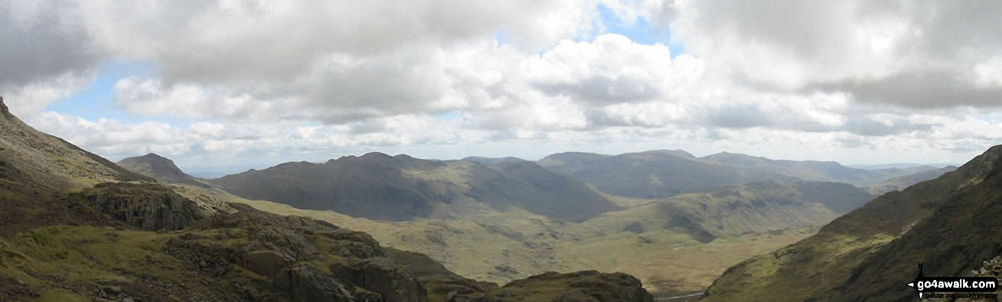Bow Fell (Bowfell), Crinkle Crags (Long Top), Gunson Knott and Crinkle Crags (South Top)  from Mickledore (between Scafell Pike and Sca Fell)