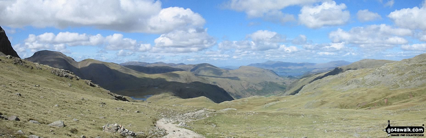Great Gable (left) and Skiddaw (far distance) from Esk Hause