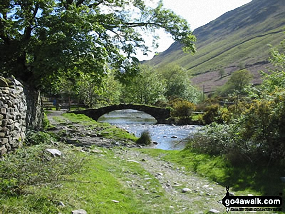 Packhorse Bridge over Mosedale Beck, Wasdale Head, Wast Water. Walk route map c101 Pillar and Little Scoat Fell from Wasdale Head, Wast Water photo