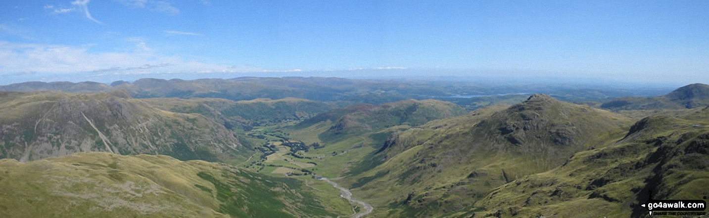 *The Langdale Valley with The Langdale Pikes (left) and Pike of Blisco (Pike o' Blisco) (right) from Crinkle Crags (South Top)
