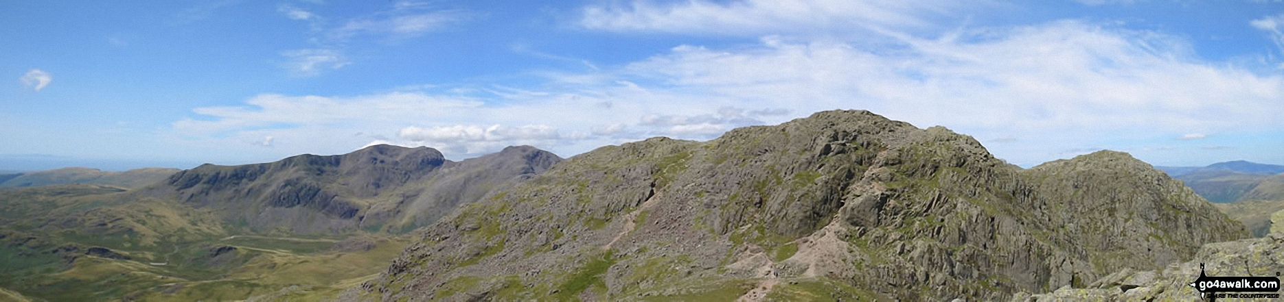 *Crinkle Crags (Long Top), Gunson Knott & Crinkle Crags (South Top) (right) including the infamous bad step with the Scafell Massiff beyond from Great Knott