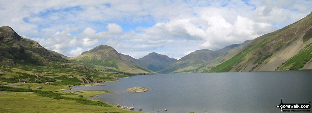 *Kirk Fell (left), Great Gable (centre) Lingmell, Scafell Pike (partially hidden) and Illgill Head across Wast Water