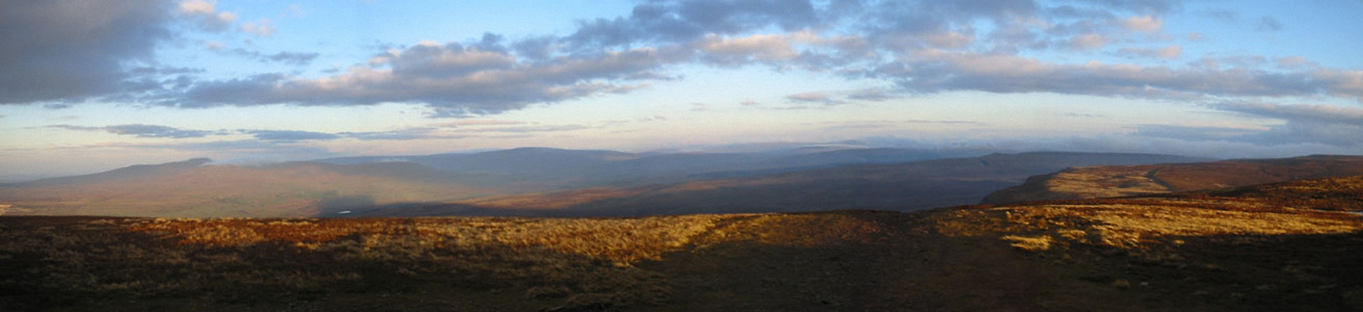 Ingleborough and Whernside from Pen-y-ghent in the early morning light