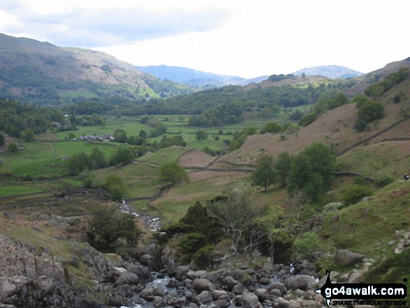 Grasmere from Helm Crag. Walk route map c173 Easedale Tarn from Grasmere photo