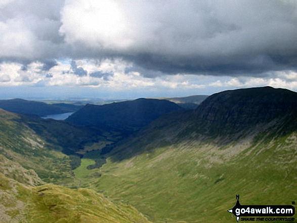 Looking down Grisdale from Dollywaggon Pike with St Sunday Crag on the right and Ullswater in the distance. Walk route map c192 Helvellyn Ridge from Glenridding photo