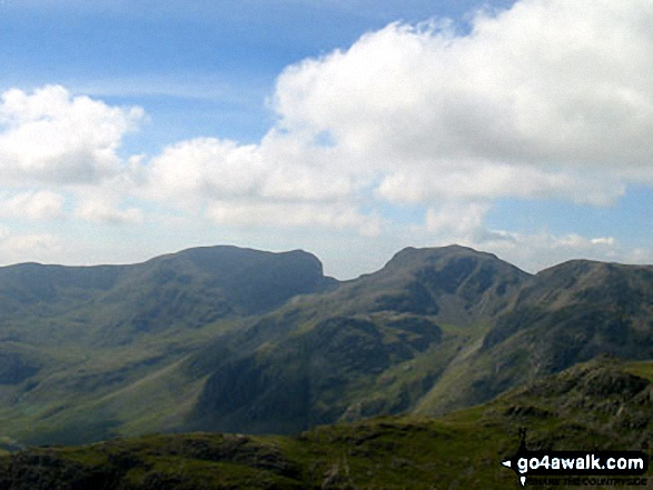 The Scafell Massiff from Bowfell - with Sca Fell to the left, Mickledore in the centre and Scafell Pike to the right