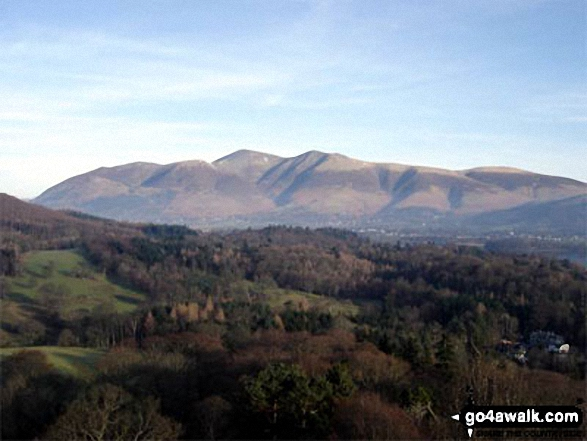 Skiddaw and Keswick from Skelgill Bank on the way to Cat Bells (Catbells). Walk route map c399 Cat Bells and Derwent Water from Keswick photo