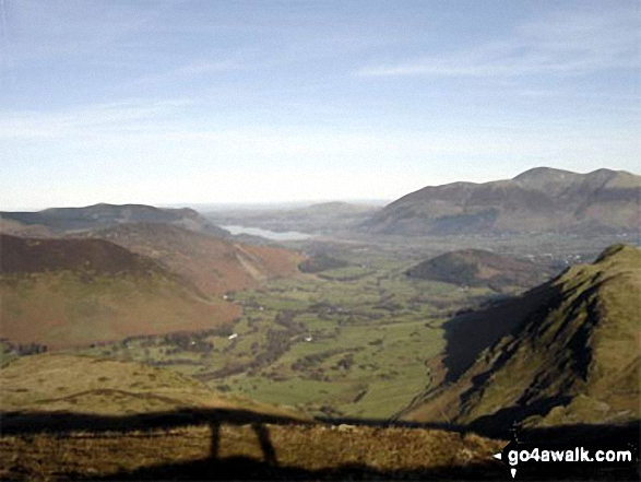 The Newlands Valley from High Spy with Bassenthwaite Lake in the distance and The Skiddaw Massif to the right. Walk route map c100 The Newlands Horseshoe from Hawes End photo