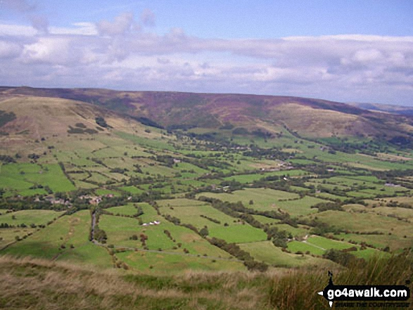 The Vale of Edale from Lord's Seat (Rushup Edge). Walk route map d158 Sparrowpit and Mam Tor from Castleton photo
