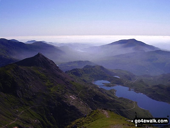 Crib Goch, The PYG Track (centre), The Miners' Track (lower right) and Llyn Llydaw from Bwlch Glas