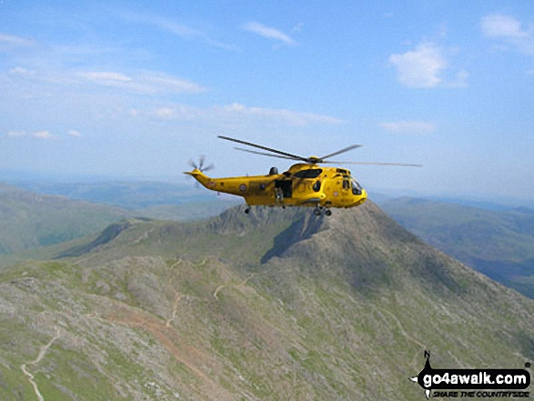 A RAF Helicopter above Y Lliwedd and the Watkin Path from Mount Snowdon (Yr Wyddfa). Walk route map gw134 Mount Snowdon (Yr Wyddfa) avoiding Crib Goch from Pen y Pass photo