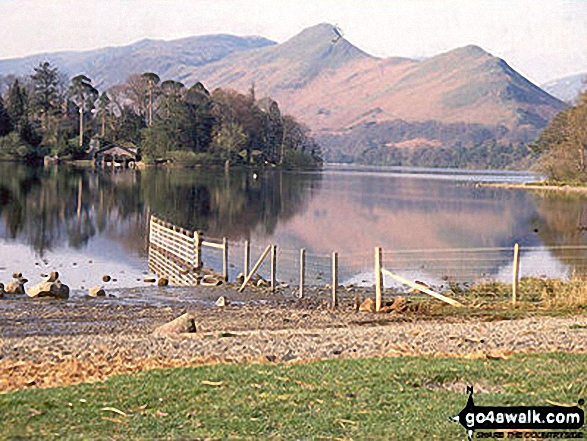 Cat Bells (Catbells) and Derwent Water from Friar's Crag. Walk route map c265 A Circuit of Derwent Water from Keswick photo