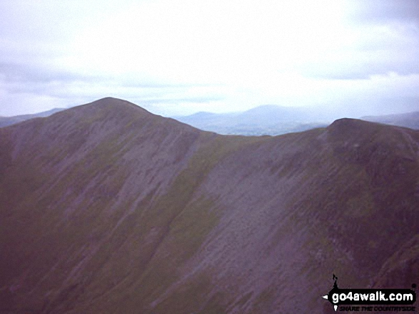 Whiteside from Hopegill Head. Walk route map c310 The Coledale Horseshoe from Braithwaite photo