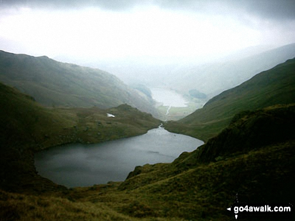 Small Water and Haweswater from Nan Bield Pass. Walk route map c251 The Mardale Head Horizon from Mardale Head photo