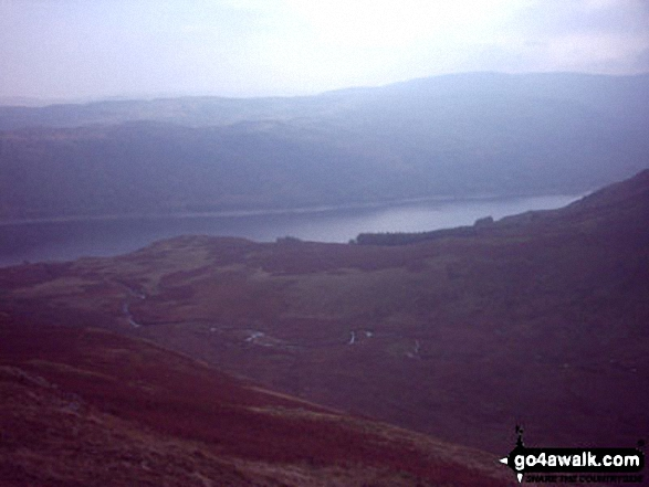 Haweswater from Low Kop. Walk route map c114 High Street from Mardale Head photo