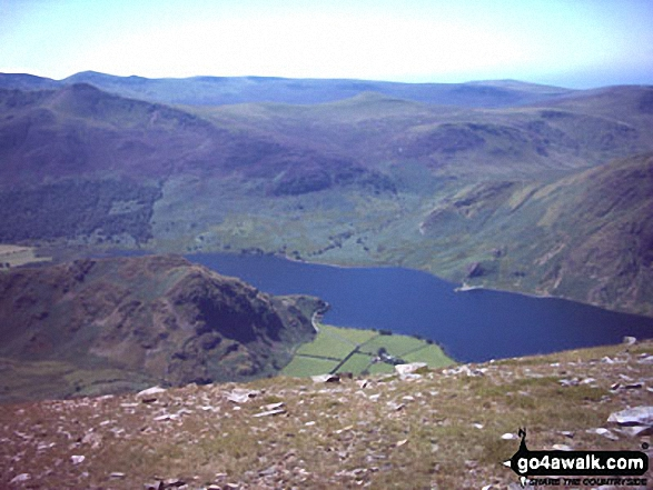 Rannerdale Knotts and Crummock Water from Grasmoor. Walk route map c310 The Coledale Horseshoe from Braithwaite photo