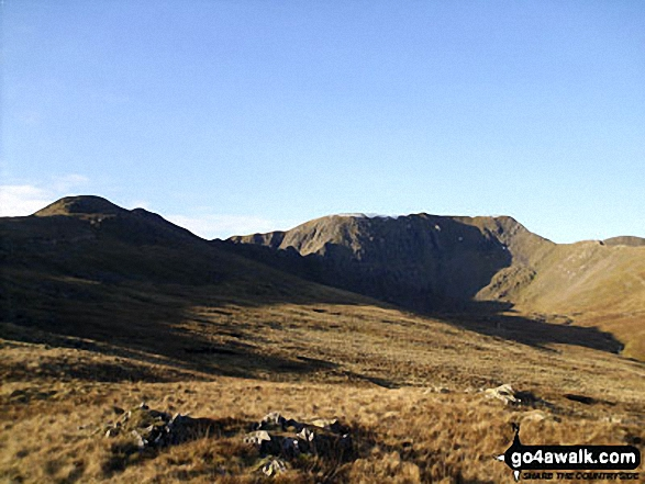 Striding Edge (left), Helvellyn and Swirral Edge (right) from above Hole-in-the-Wall