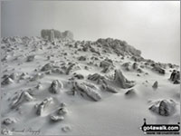 Snow on the summit of Scafell Pike, England's Highest Hill also known as a 'Marilyn'