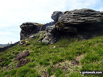 Walk Catlow Fell (Ravens Castle) walking UK Mountains in The South Pennines and The Forest of Bowland  Lancashire North Yorkshire   England