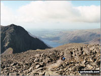 Walk Scafell Pike walking UK Mountains in The Southern Fells The Lake District National Park Cumbria    England