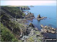 Walk route map pe115 Traeth Bach Natural Arch from Moylgrove Moylgrove, Cwm Trewyddel, Ceibwr Bay, The Pembrokeshire Coast Path, Careg Wylan, Traeth Bach, Careg Yspar, Cwm Flynnon-alwm, Treriffith Farm, Moylgrove  The Pembrokeshire Coast National Park,  Pembrokeshire,  Wales