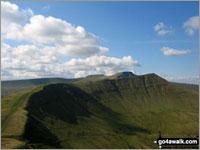 Walk route map po131 Bwlch y Ddwyallt and Fan y Big from Blaen y Glyn Blaen y Glyn, Craig y Fan Ddu, Gwaun Cerrig Llwydion (Bwlch y Ddwyallt), Craig Cwareli, Craig Cwmoergwm, Fan y Big, Bwlch ar y Fan, Roman Road, Taff Trail, Blaen y Glyn The Brecon Beacons Area,  The Brecon Beacons National Park,  Powys,  Wales
