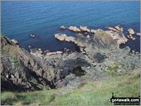 Walk route map pe121 Pen y Fan (Dinas Head) from Cwm-yr-Eglwys Cwm-yr-Eglwys, The Pembrokeshire Coast Path, Aber Pig-y-baw, Needle Rock, Llech Isaf, Pen y Fan (Dinas Head), Aber Pen-clawdd, Cafnau, Aber Careg-y-Fran, Pen Sidan, Pen Castell, Pwllgwaelod, Cwm-yr-Eglwys  The Pembrokeshire Coast National Park,  Pembrokeshire,  Wales