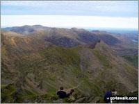 Walk route map gw134 Mount Snowdon (Yr Wyddfa) avoiding Crib Goch from Pen y Pass Pen y Pass, Pyg Track, Bwlch y Moch, Craig Fach, Miners' Track, Snowdon Mountain Railway, Snowdon (Yr Wyddfa), Miners' Track, Glaslyn, Llyn Llydaw, Pen y Pass The Snowdon Area,  Snowdonia National Park,  Gwynedd,  Wales