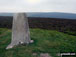 Bache Hill summit trig point with Black Mixen on the horizon, Radnor Forest