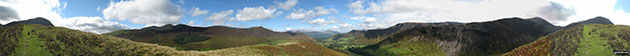 Robinson, Crag Hill (Eel Crag), Sail, Causey Pike, Rowling End, The Skiddaw Masiff, Keswick, Cat Bells (Catbells) and High Crags from Blea Crags