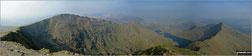 Garnedd Ugain (Crib y Ddysgl), Crib Goch, Craig Fach, The PYG Track, Llyn Llydaw and Y Lliwedd from the summit of Snowdon (Yr Wyddfa)