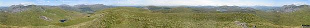 360 degree view from Moel Penamnen summit featuring (from left to right): The Moelwyns - Moelwyn Bach, Craigysgafn & Moelwyn Mawr, Allt-fawr, Moel Druman & Ysgafell Wen, Moel Farlwyd (foreground above/left of blue lake), Yr Aran (pointed peak above Moel Farlwyd), Mount Snowdon (Yr Wyddfa) & Y Lliwedd, The Glyderau - Glyder Fach, Glyder Fawr & Tryfan, Carnedd Moel Siabod, Y Ro Wen, Foel-fras (Moelwyns), Manod Mawr (above two light blue lakes) and The Arenigs - Arenig Fawr & Arenig Fach.