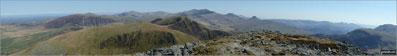 Mynydd Mawr (Llyn Celyn), Craig y Bera, Mynydd Tal-y-mignedd and Mynydd Drws-y-coed from the summit of Craig Cwm Silyn with Garnedd Ugain (Crib y Ddysgl), Snowdon (Yr Wyddfa), Y Lliwedd & Yr Aran on the horizon (centre) and Moel Lefn, Moel yr Ogof & Moel Hebog on the far left