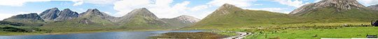*Slat Bheinn, Bla Bheinn (Blaven) (South West Top), Bla Bheinn (Blaven), Garbh-bheinn (Skye), Belig (centre), Glas Bheinn Mhor (Skye), Beinn na Cro and Beinn Dearg from Loch Slapin near Torrin
