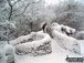 Footbridge under a deep layer of snow in Little Hayfield  The Peak District National Park Derbyshire England