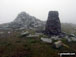 Moel Ysgyfarnogod summit in mist